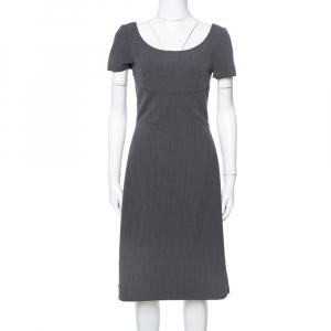 Prada Grey Wool Short Sleeve Sheath Dress S - used