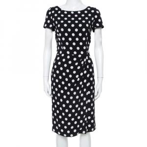 Prada Black & White Polka Dotted Crepe Pleat Detail Dress M - used