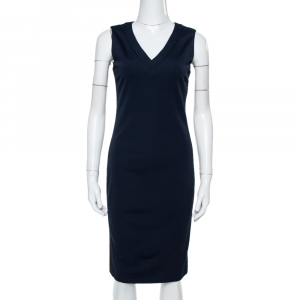 Prada Navy Blue Jersey Sleeveless Sheath Dress M