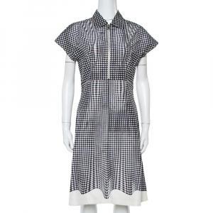 Prada Monochrome Check Print Silk A-Line Dress M