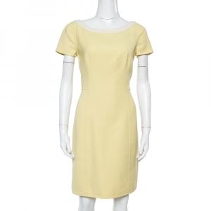 Prada Yellow Wool Crepe Sheath Dress M - used