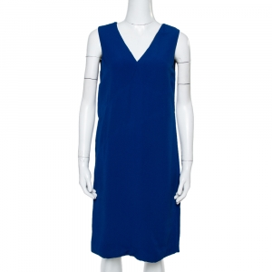 Prada Royal Blue Crepe Sleeveless Shift Dress S