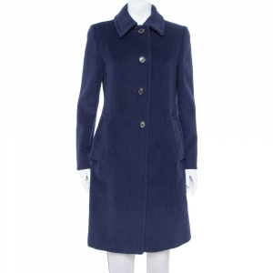 Prada Navy Blue Wool Button Front Coat M