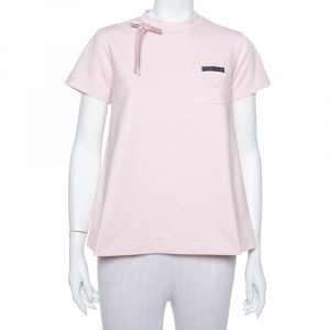 Prada Light Pink Cotton Bow Detail Crewneck T Shirt S