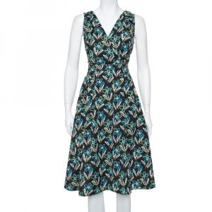 Prada Black Floral Printed Cotton Faux Wrap Flared Midi Dress L - used