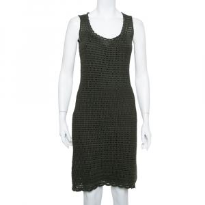 Prada Green Crochet Knit Sleeveless Midi Dress S - used