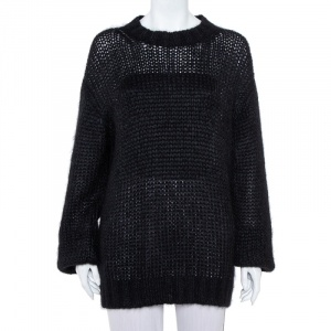 Prada Black Wool Oversized Crewneck Sweater M - used