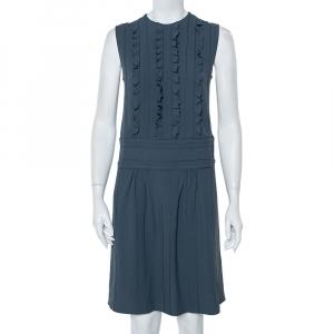 Prada Grey Crepe Ruffle Detail Paneled Bleu Dress S - used