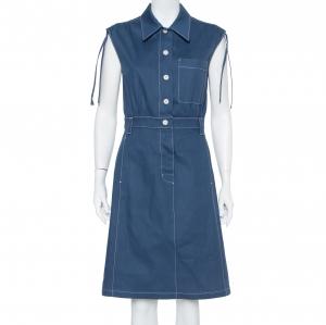 Prada Navy Blue Denim Button Front Sleeveless Midi Dress M - used