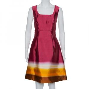 Prada Burgundy Ombre Silk Sleeveless Midi Dress M - used