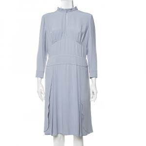 Prada Pastel Blue Crepe Paneled Midi Dress L - used