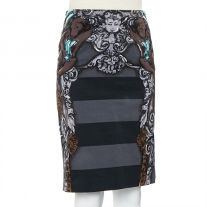 Prada Grey Cherub Printed Cotton Knee Length Skirt S