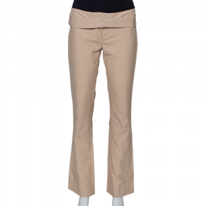 Prada Beige Cotton Straight Leg Belted Pants S