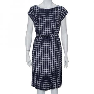 Prada Navy Blue Printed Crepe Belted Shift Dress M - used
