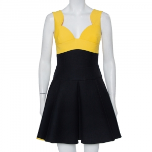 Prada Black & Yellow Wool & Silk Pleated Sleeveless Mini Dress S