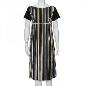 Prada Multicolor Striped Crepe Midi Dress M - used
