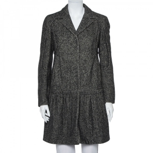 Prada Black Wool & Cashmere Mid Length Coat M