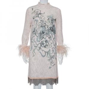 Prada Pink Printed Crepe Metal Hem & Feather Detail Sable Shift Dress M - used