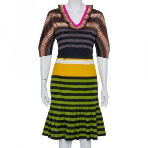 Prada Multicolor Striped Cotton Ruffled Midi Dress S - used