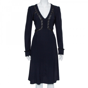 Prada Midnight Blue Crepe Lace Trim Midi Dress M - used