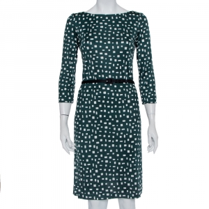 Prada Green Printed Silk Knit Belted Shift Dress M - used