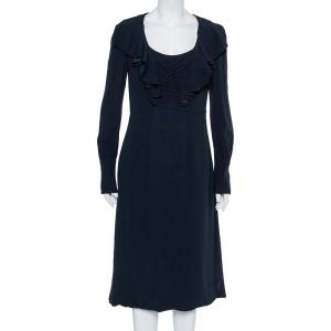 Prada Midnight Blue Crepe Ruffled Layered Maxi Dress M - used