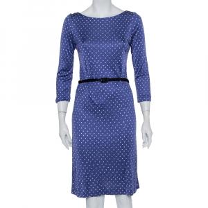 Prada Blue Printed Silk Knit Belted Shift Dress M - used