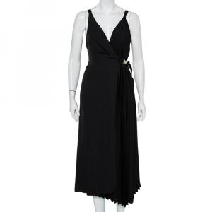 Prada Black Crepe Plisse Detail Sleeveless Belted Wrap Dress M - used