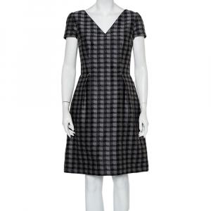 Prada Grey Checked Wool & Silk Blend A Line Dress M - used