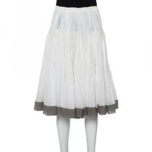 تنورة ميدي برادا قطن أبيض حواف متباينة بطيات مقاس صغير - سمول