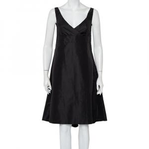 Prada Black Synthetic Sleeveless Faux Wrap Midi Dress L - used