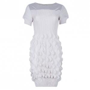 Prada Beige Textured Silk Dress L