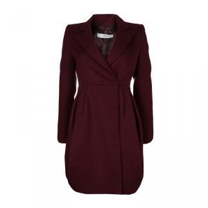 Prada Burgundy Wool Notched Collar Overcoat S