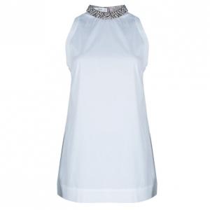 Prada White Embellished Collar Top M