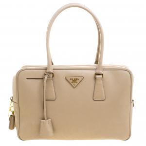 Prada Beige Saffiano Lux Leather Top Handle Bowling Bag