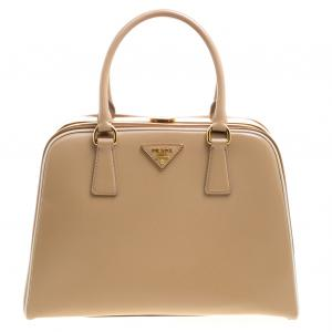 Prada Beige/Caramel Patent Leather Pyramid Frame Top Handle Bag