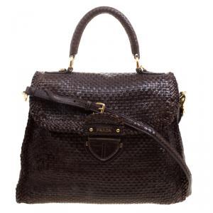 Prada Dark Brown Woven Goatskin Leather Madras Top Handle Bag