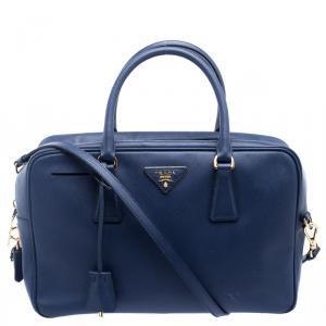 Prada Blue Saffiano Lux Leather Top Handle Bowling Bag