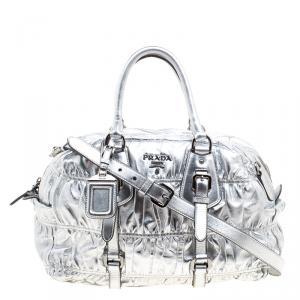 Prada Silver Nappa Leather Gaufre Bowling Bag