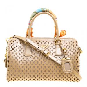 Prada Beige Perforated Patent Leather Bowling Bag