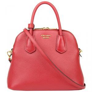 Prada Red Saffiano Leather Top Handle Bag