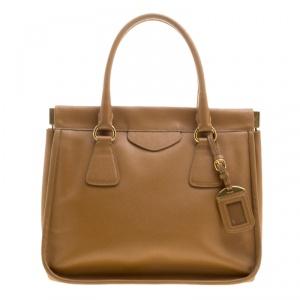 Prada Caramel Saffiano Lux Leather Frame Top Handle Bag