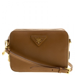 Prada Caramel Saffiano Lux Leather Crossbody Bag