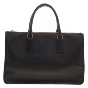 Prada Black Saffiano Lux Leather Frame Top Handle Bag