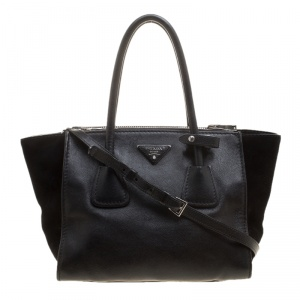 Prada Black Leather And Suede Double Zip Tote