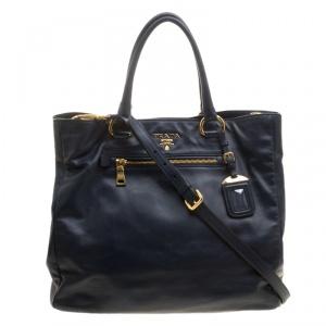 Prada Black Soft Calfskin Leather Shopping Tote