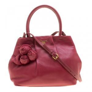 Prada Pink Nappa Leather Rose Satchel