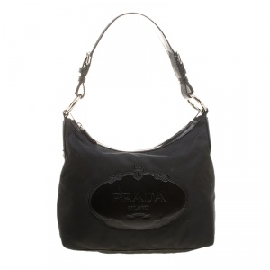 Prada Black Nylon And Leather Hobo