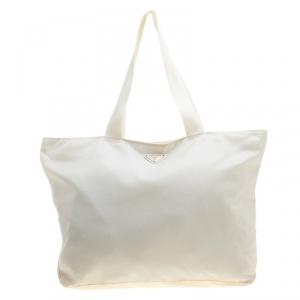 Prada White Nylon Shopping Tote