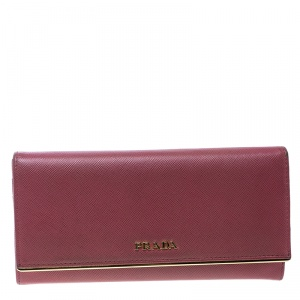Prada Dark Pink Saffiano Leather Detail Organizer Wallet